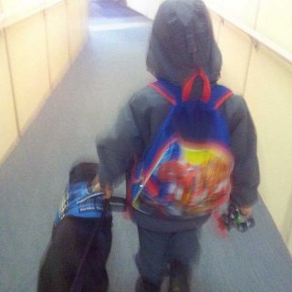 Autistic boy and service dog
